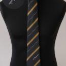 Cravate personnalisée (noires, rayures or,logo gris) , personnel compagnie aérienne