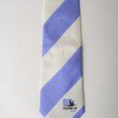 Cravate soie personnalisée, membres club de rugby, rayures club ciel et blanc + logo clu