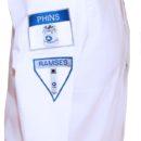 chemise blanche, manches longues, broderie épaule droite (force de vente salon)