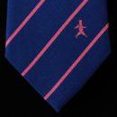 Cravate bleu roy, rayures et logo rose tissés jacquard en bas, en soie : cadeau entrprise