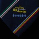 cravate bleue rayée, logo association tissé jacquard en base, signe de reconnissance membres association