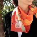 foulard en twill de soie, impression haute définition (reproduction d'artiste), roulotté main