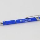 stylo publicitaire métallique (bleu) personnalisé avec une gravure laser