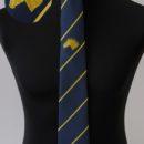 Cravate personnalisée tissée (fond bleu marine, rayures er logo jaunes), syndicat éleveurs de cheveaux