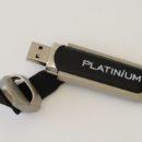 Clef USB, publicitaire en cuir noir et métal