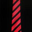 ACADÉMIE SAINT-LOUIS, cravate personnalisée, rayures rouges et noires + blason sous le noeud, uniforme éleves