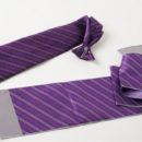 Coordonné cravate de sécurité et écharpe, imprimés violet et gris