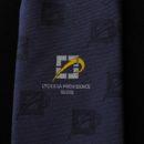 cravate bleue, logo lycée tissé jacquard, accessoire uniforme lycéens