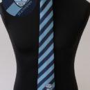 cravate jacquard, rayures club (ciel et marine) + logo, association rugby etudiante