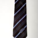 Cravate soie marron avec des rayures et des filets ciel, (membres club de golf)